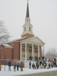 Snowy Day Outside the Church